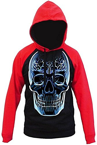Scary Glass Skull Men's Hoodie Red/Black S-2XL (L, Red/Black)