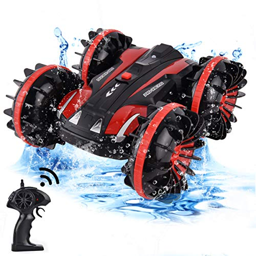 Flyglobal Waterproof RC Cars 4WD, Amphibious Remote Control Car Boat Truck Vehicles 2.4Ghz Off Road Water and Land Double Sided Rotate, 360 Degree Spins and Flips Car Summer Toys for Kids Boys, Red
