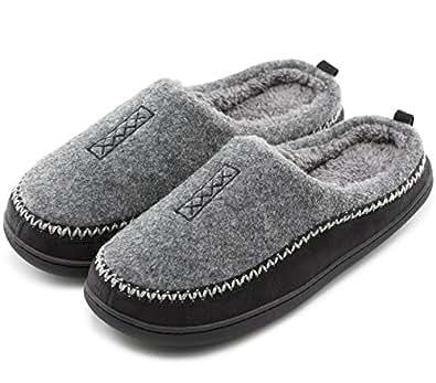 Men's Cozy Fuzzy Wool Fleece Memory Foam Slippers Slip On Clog House Shoes Indoor/Outdoor Grey Size: 7-8