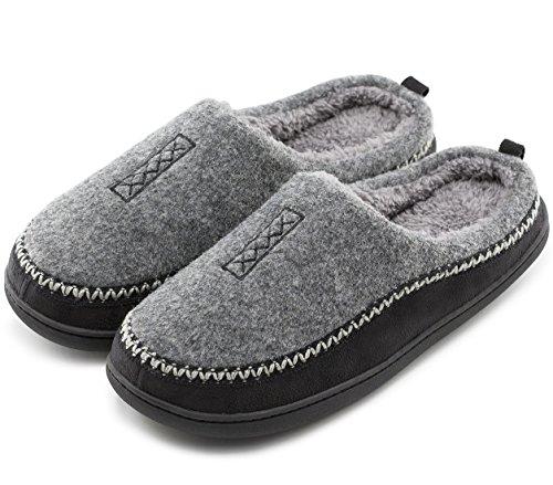 HomeTop Men's Indoor/Outdoor Wool Cross Decor Slip On Memory Foam Clog House Slippers (US Men's 11-12, Gray)