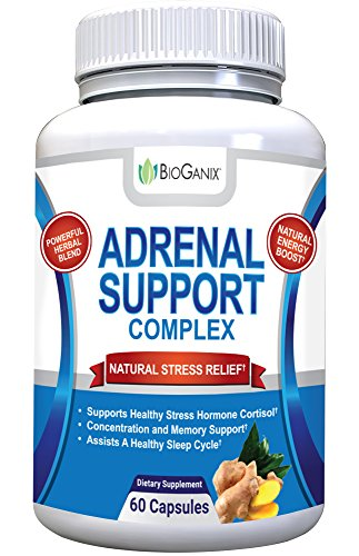 BioGanix Adrenal Support Supplement - Adaptogenic Herbal Complex with Ashwagandha, Ginseng, Gotu Kola and Licorice Root for Adrenal Health and Stress Relief; Manages Cortisol and Fatigue; 60 capsules