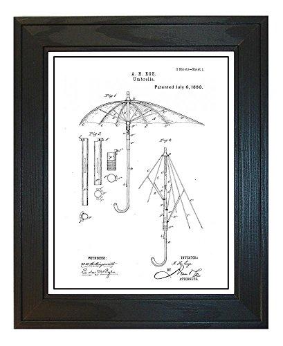 Umbrella Patent Art White Matte Print with a Border in a Sol