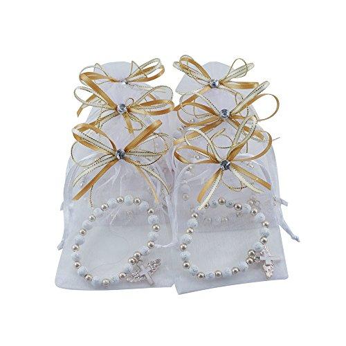 12 Pcs Angel Wing Cross Bracelet with Organza