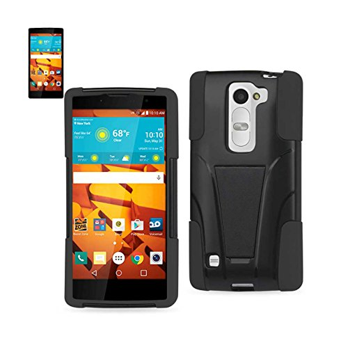 Reiko silicon case+protector cover for LG Volt 2, LS751, G4C, G4 compact, C90 new type kickstand black