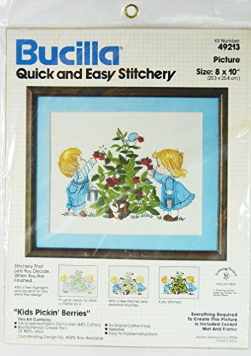 Kids Picking Berries Crewel Stitchery Kit by Bucilla