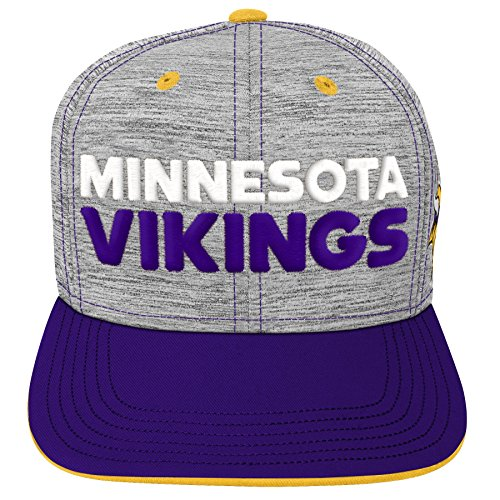 L Minnesota Vikings Youth Boys Space Dye Snapback Hat Heather Grey, Youth One Size ()
