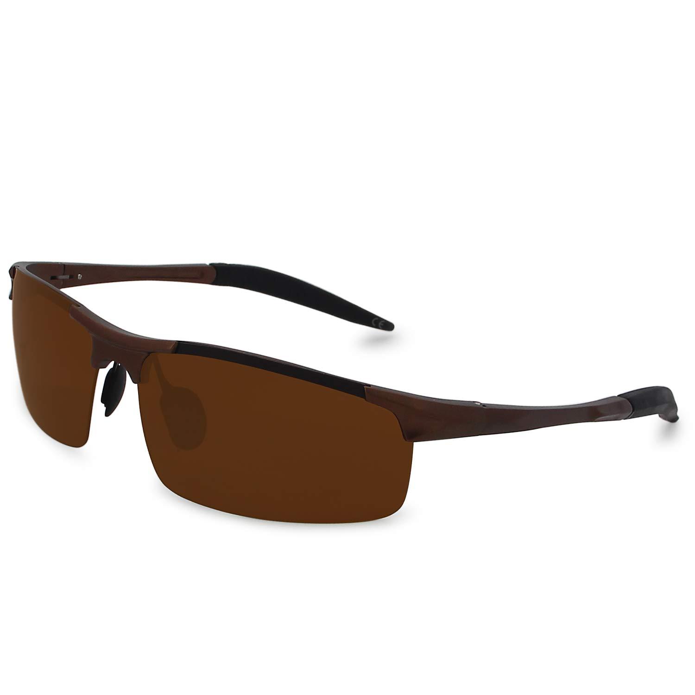 AMZTM Al-Mg Gafas de Sol Polarizadas Deportivas para Hombre Gafas para El Pesca Ciclismo Protección UV Ultraligero (Marron oscuro/Marron oscuro, ...