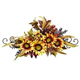 Nearly Natural 4932 Sunflower Swag with Metal Frame, Yellow