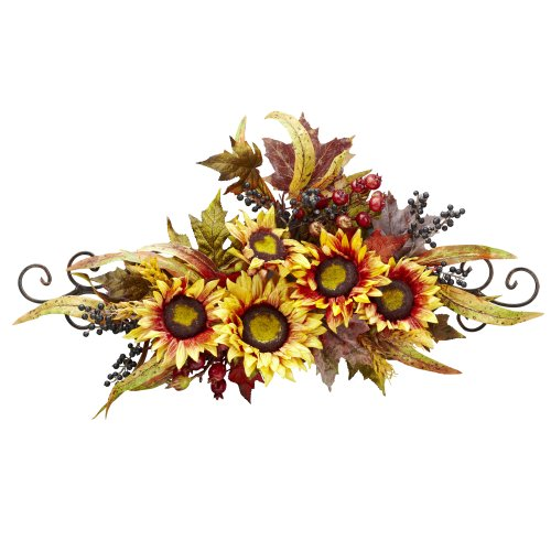 Nearly Natural 4932 Sunflower Swag with Metal Frame, Yellow by Nearly Natural