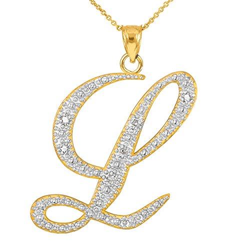 14k Yellow Gold Diamond Script Initial Letter L Pendant Necklace, 20