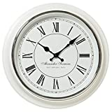 Whole House Worlds The Classic Analog White Wall Clock, Italian Style, Sant Ambrogio, Quartz Movement, Roman Numerals, Over 1 Ft Diameter, Requires 1 AA Battery (Not Included)