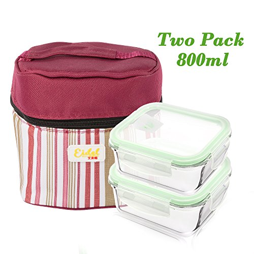 BEW Glass Meal Prep Container, Snap Lock Lid, Leakproof, Airtight, BPA Free, Stain Proof, Microwave, Oven, and Freezer Safe, (Pack of 2, 27oz) (Dish 800 Lock 1)