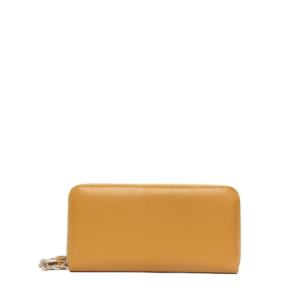 MADE4U Women's Genuine Leather Medium Size Simple Clutch Bags Wallet - Yellow 14080088014