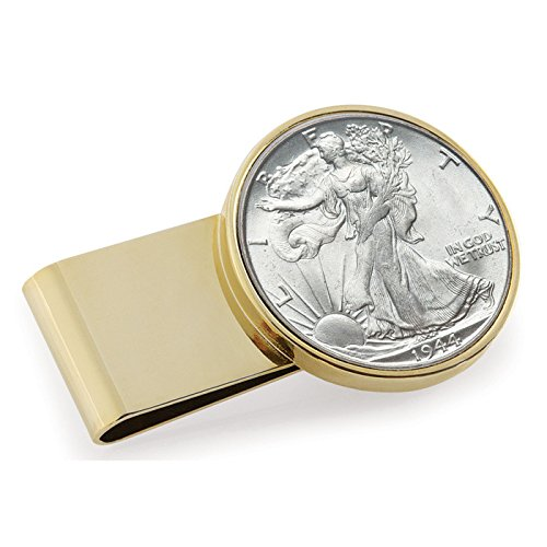 Half Dollar Money Clip - Coin Money Clip - Silver Walking Liberty Half Dollar | Stainless Steel Moneyclip Layered in Pure 24k Gold | Holds Currency, Credit Cards, Cash | Genuine U.S. Coin | Certificate of Authenticity
