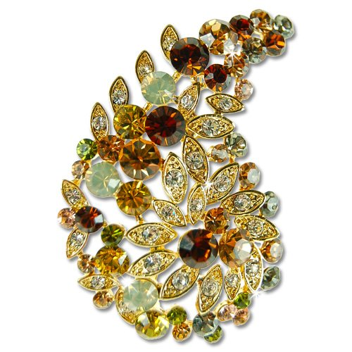 [Swarovski Crystal Paisley Brooch, Indian Maharaja Style Crystal Pin - Green, Janeo Jewels] (Adult Pear Costumes)