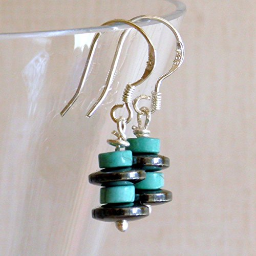 Handmade 925 Sterling Silver Drop Turquoise Haematite Gem Earrings FREE Delivery in UK Gift Wrapped 1ZdBMv7Dee