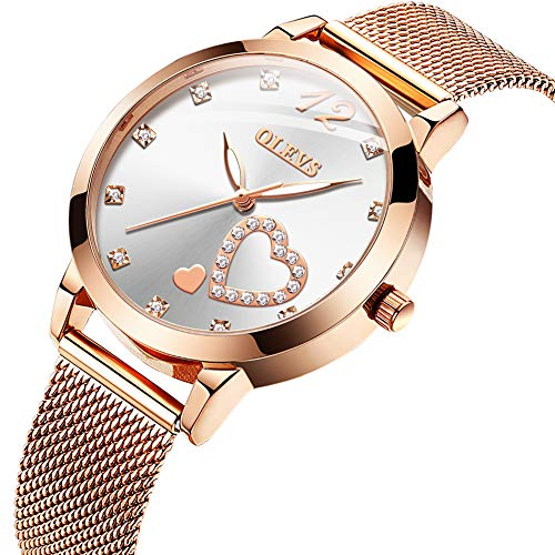 OLEVS Rose Gold Watch Women Heart-Shaped Black Ladies Top Brand Crystal Luxury Luminous Wrist Watch Girl Clock Bayan KOL saati (White)