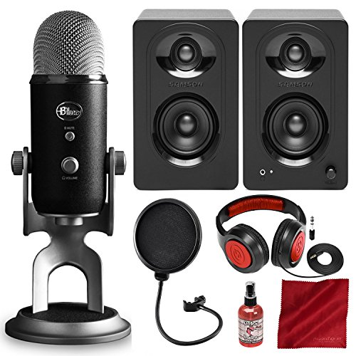 Blue Yeti Pro Studio All-In-One Pro Studio Vocal System w/Recording Software and Samson Studio Monitors, Closed-Back Headphones, Deluxe Bundle