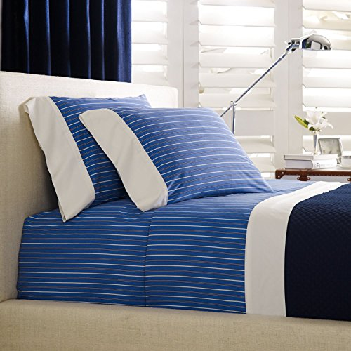 Ralph Lauren Extra Deep Fitted Sheet Off Sunset Cambridge Stripe Blue/White Twin