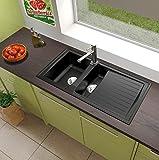 respekta Mineralite Spüle Küchenspüle Spülbecken Einbauspüle Boston 100 x 50 schwarz