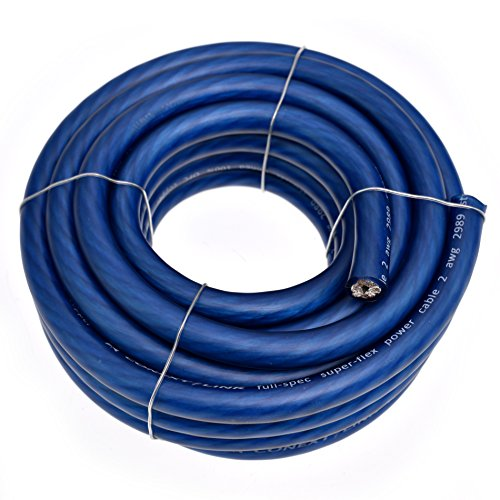 Conext Link 20 FT 2 AWG GA Full Gauge Battery Power Cable Ground Wire Frost Blue OFC Copper by Conext Link
