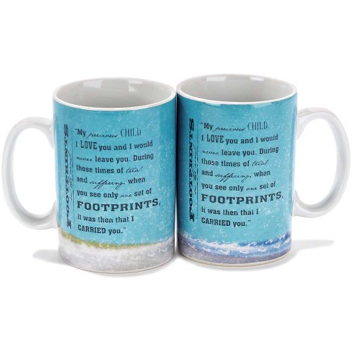 Footprints in the Sand Seashore 16 Ounce Stoneware Coffee Mugs Set of ()