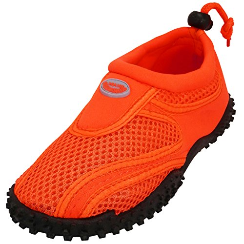 Cambridge Select Kids' Mesh Quick Dry Slip-On Drawstring Non-Slip Water Shoe (Toddler/Little Kid/Big Kid),13 M US Little Kid,Neon Orange by Cambridge Select