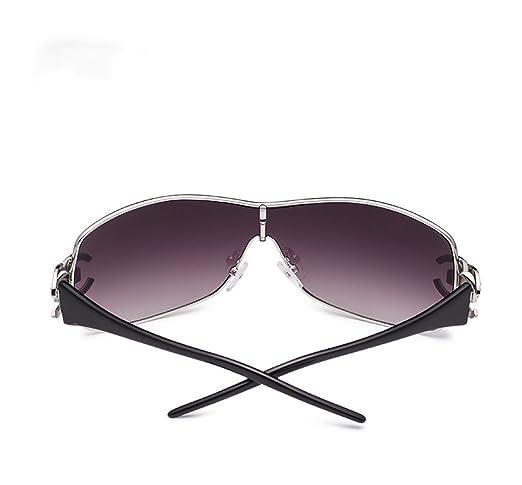 ZHANGYUQI Europäische und amerikanische Retro- Diamant-Sonnenbrille-Damen einteilige Schutzbrillenmetallsonnenbrille weiblich (Farbe : Gold) DF3E3ZIBmL