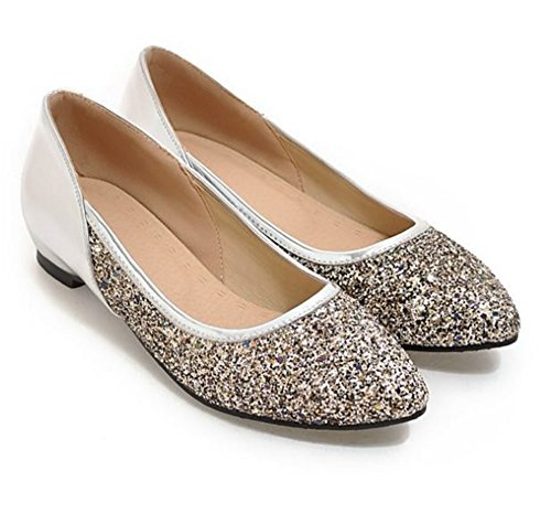 Pointed Shoes Flats Slip Silver Comfort Toe Pumps for Believed Women Dress On Printed HqcfUAI