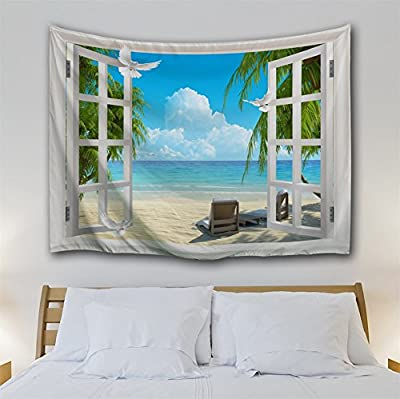 KLOLKUTTA Beach Tapestry Wall Hanging, Palm Tree Landscape Through Window Hawaii Ocean Art Set Summer Tropical Wall Decal Paper Bedroom Living Room