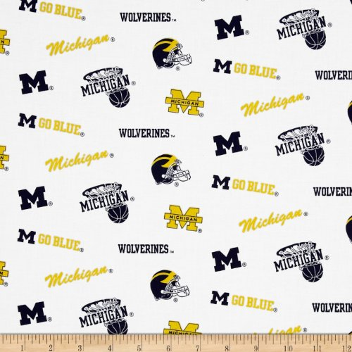 Sykel Enterprises Collegiate Cotton Broadcloth University of Michigan Fabric by The Yard, ()