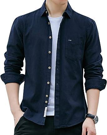 Hombre Otoño Casual Delgado Manga Larga Camisa Moda de Color Sólido Negocios Trabajo Boda Camisa Formal Top Blusa: Amazon.es: Ropa y accesorios