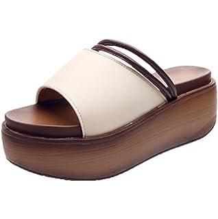 weiwei Damen Dicke Sohlen Sandalen und Hausschuhe,Bow IM Sommer Flache Unterseite Rutschfeste Hausschuhe-D Fußlänge=22.3CM(8.8Inch)