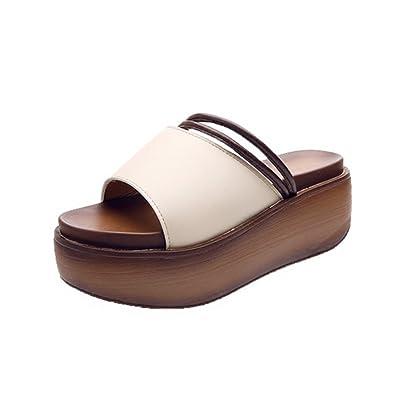Frau Sommer Dicke Sohlen Pantoffeln,Transparenten Weichen Strand Hausschuhe-B Fußlänge=22.3CM(8.8Inch)