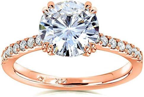 Kobelli Moissanite and Lab Grown Diamond Engagement Ring 2 1/10 CTW 14k Rose Gold (HI/VS, DEF/VS)