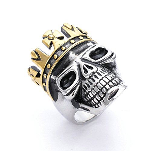 [Men's 316L Stainless Steel Crown Skull Ring Silver Gothic Vintage Biker Size 9] (Boss Hog Costume)