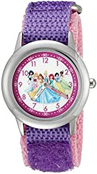 Disney Infinity Kids' W002497 Princess Stainless Steel Watch with Two-Tone Nylon Band