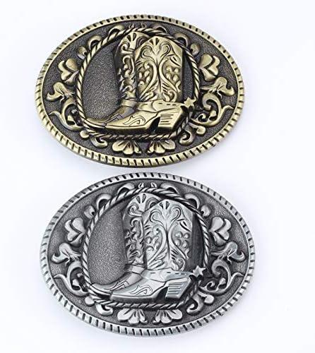 RQWY Ceinture Buckleclassics bottes populaires modèle boucle de ceinture de cowboy Ceinture en alliage pièces Blanc