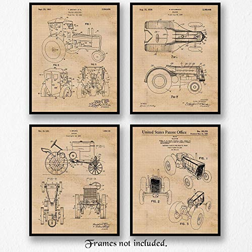 Original John Deere Tractor Patent Poster Prints, Set of 4 (8x10) Unframed Photos, Wall Art Decor Gifts Under 20 for Home, Office, Man Cave, Shop, Student, Teacher, Cowboys, Ranch, Farm, Garden Fan (Vintage John Deere Tractor)