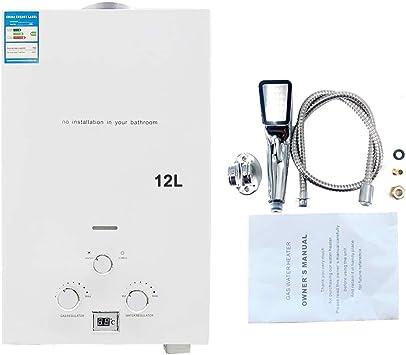 Cozyel 12 litros Calentador de agua a Gas GLP Butano Propano 12 L 24KW Para el la casa Viaje Caravana Barco Camping Coche