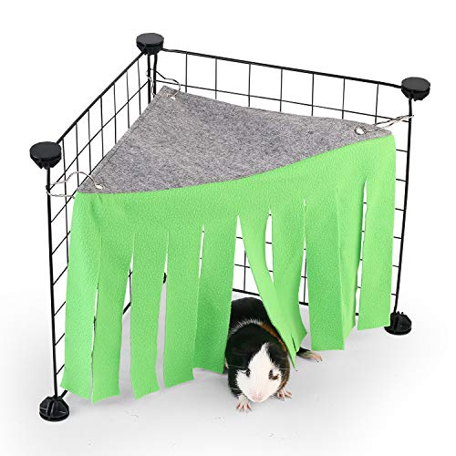 DOGIDOLI Green Guinea Pig Hideout, Corner Fleece Forest Hideaway for Guinea Pigs, Ferrets, Chinchillas, Rats, Gerbils, Dwarf Rabbits & Other Small Animals Without Metal Fences