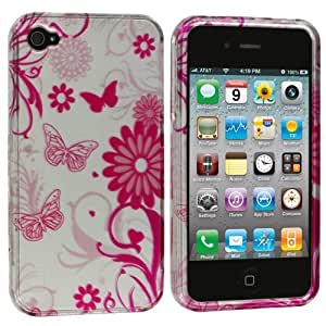 Accessory Planet(TM) Silver / Pink Butterfly Flowers Design Hard Snap-On Crystal Case Cover Accessory for Apple iPhone 4 / 4S