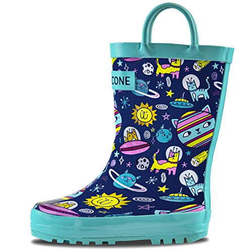 LONECONE Rain Boots with Easy-On Handles in Fun Patterns for Toddlers and Kids, Intergalacti-CAT, Toddler 7