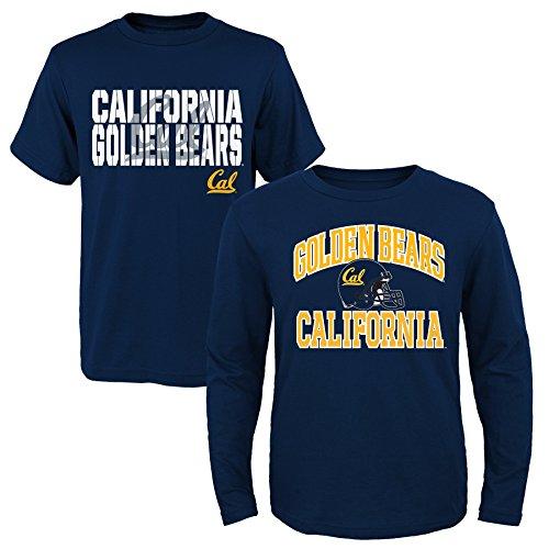 Outerstuff NCAA Youth Boys 8-20 U Cal Berkeley 2Piece Long & Short sleeve Tee Set, L(14-16), Assorted