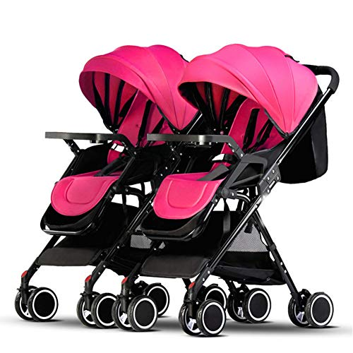 Twin Portable Baby Stroller Contours Curve Tandem Double Stroller Toddlers Or Twins – 360° Turning, Multiple Seating Options,Pink