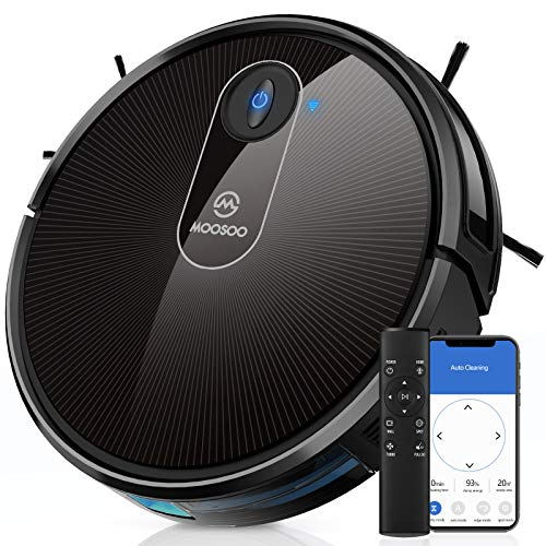 Robot Vacuum, MOOSOO Self-Charging Robotic Vacuum Cleaner, 1800Pa Strong Suction, WiFi/App/Alexa, Super Quiet, Ideal for Pet Hair, Medium-Pile Carpets, Hard Floors, MT-720