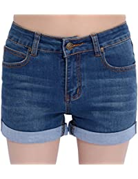 Women's Basic Stretched Mid-Rise Turn-Up Cratched Denim Shorts
