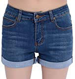Chouyatou Women's Basic Stretched Mid-Rise Turn-up Cratched Denim Shorts (Large, Blue)