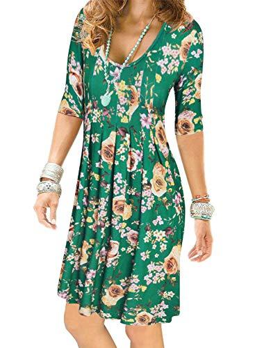 Pleated Empire - Women's Floral Half Sleeve Empire Waist Plain Pleated Loose Swing Casual Dresses Knee Length