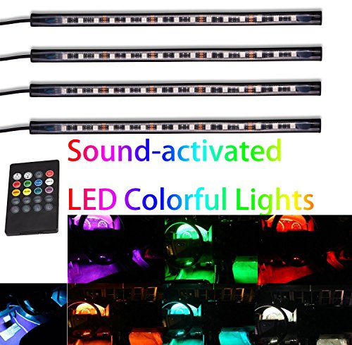 GD-Lighting 4pcs Multi-Color 7 Color LED Interior Underdash Lighting Kit, With Sound Active Function and Wireless Remote Control (Car Led Interior Light Kit compare prices)